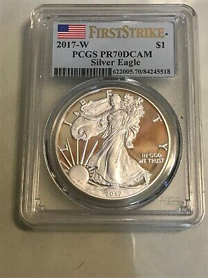 2017-W American Silver Eagle - Pcgs Pr70Dcam - Fs,  Flag Label, Attractive Coin