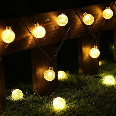 50 LED Solar Powered Garden Party Fairy String Crystal Ball Lights Outdoor Light
