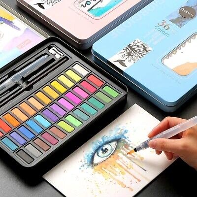 33 Colors Solid Foldable Watercolor Paint High Pigment Set With Water Brush Pen