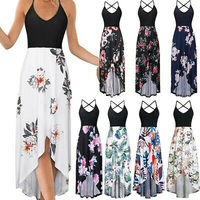 Womens Lady Summer Sexy Strappy Off Shoulder Backless Printing Bohe Long Dress
