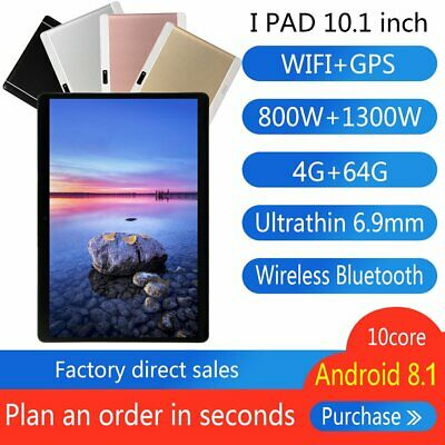 """HD 10.1"""" Tablet Deca Core 4+64G Android 4G Wifi Bluetooth Phablet PC Laptop GR"""