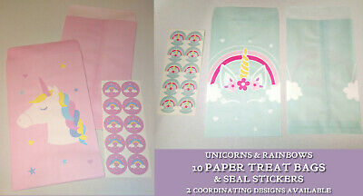 RAINBOWS & UNICORNS PARTY 10 PAPER TREAT BAGS + SEAL STICKERS Pink Blue 2 Design