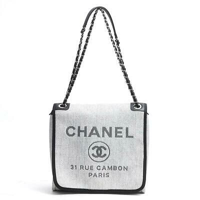 ae90be1e79247b CHANEL Deauville shoulder bag A93184 Canvas x Leather Gray Used Vintage