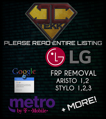 Remote Service FRP Google Account Removal LG ARISTO, K20, STYLO, 1, 2, 3, G3