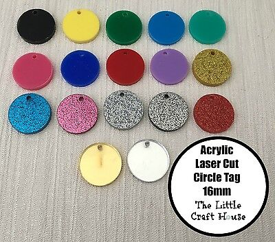 16mm Pair Circle Tag Acrylic Laser Cut Flatback Flat Back Cabochon Round Craft