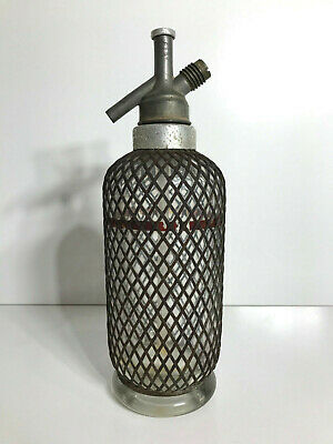 ANTIQUE 1930s SPARKLETS SODA SYPHON WIRE COVERED BOTTLE RARE! SMALL SIZE!