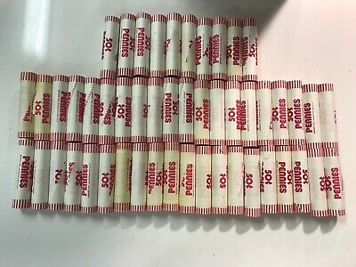1980 Uncirculated Bank Rolled Pennies Coin Collection Lot  25$   50 Rolls
