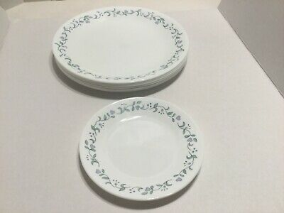 Corelle Corning Country Cottage Periwinkle Blue 7 Dinner Plates 1 Salad Plate