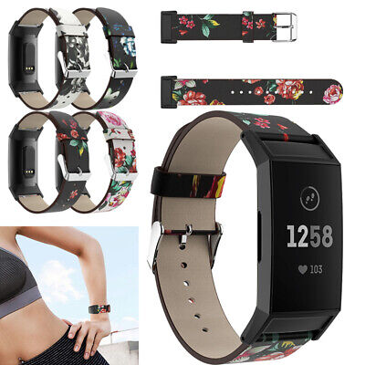 Women Floral Printed Leather Watch Band Strap Wristband Casual Fit Bit Charge 3