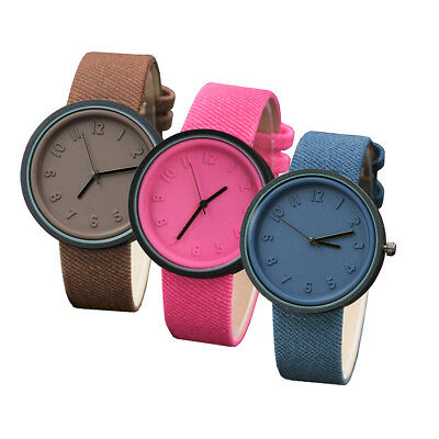 UK Fashion Casual Womens Girls Watch Canvas Band Analog Quartz Wrist Watch Gift