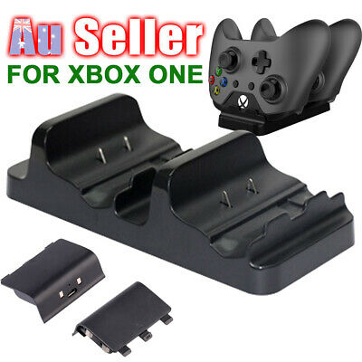 2 USB Rechargeable Charger Microsoft Dual Controller Battery Dock for XBOX ONE +