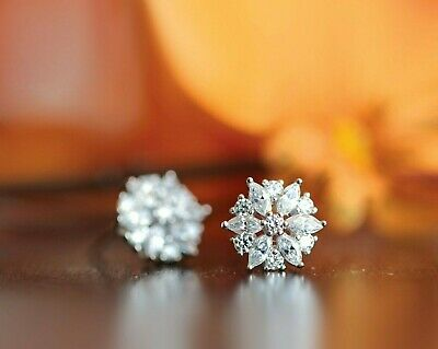 89294857a 2 ct Marquise & Round Diamond Womens Cluster Stud Earrings 14k White Gold  Over