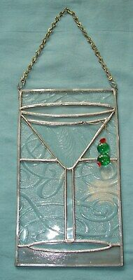 "HANDCRAFTED STAINED GLASS HANGING PANEL ~ MARTINI WITH OLIVES 10"" x 6"""