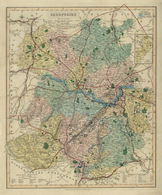 Shropshire antique county map by J & C Walker. Railways & boroughs 1868