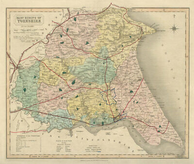 East Riding of Yorkshire antique county map by J & C Walker. Railways 1868