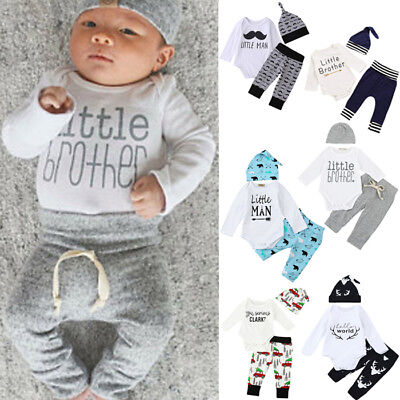3PCS Children Baby Kid Girl Boy Long Sleeve Romper Tops+Pants+Hat Outfit Clothes
