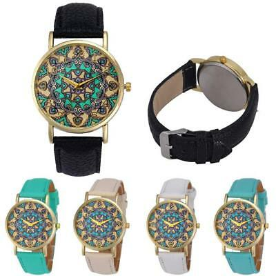 Fashion Casual Ladies Womens Round Leather Band Quartz Analog Wrist Watch Gift R