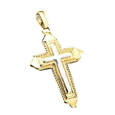 Valentine's Day Cross Pendant Rope Chain Necklace 18K Gold Over Two-Tone Men's