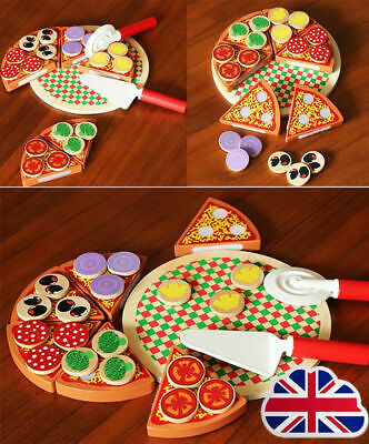 Wooden Pizza Play Food Set Wooden Toy Kids Pretend Kitchen Childrens Cooking L1