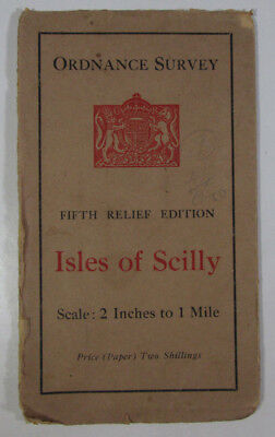 1933 Old OS Ordnance Survey Half-Inch Fifth Relief Edition Map Isles of Scilly