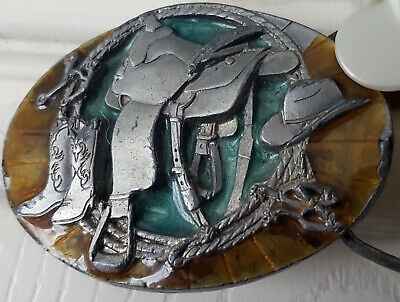 Vintage Buckles Of America Masterpiece Collection Cowboy Buckle on Belt.