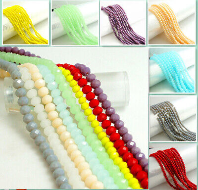 Lots Crystal Glass Rondelle Faceted Loose Spacer Beads DIY 2/3/4/6/8/10mm UK 2H