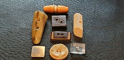 Job lot Assorted 8 VINTAGE 60's 70's Retro Square Toggle Diamond Shape Buttons