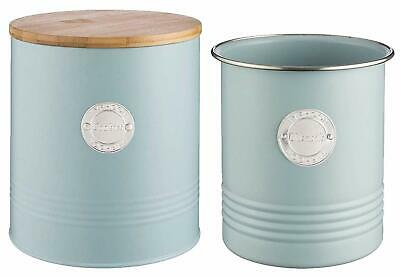 Typhoon Living Utensil Pot & Airtight Cookie Jar with Bamboo Lid BLUE  [TUCB]