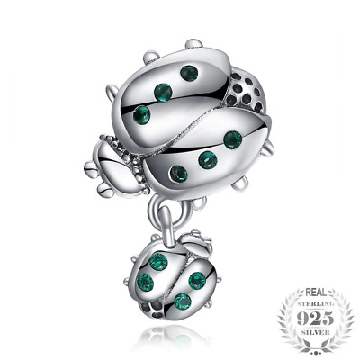 Charms 925 Sterling Silver Cubic Zirconia Mother Child Ladybird Beads Fit Gift