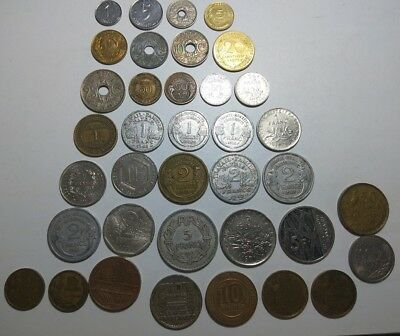 Pre-Euro France 37 different coins Centimes & Francs from 1918 up to 1990's