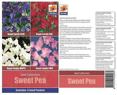 De Ree Sweet Pea - 4 in 1 Packet Royal Family White Red Blue Pink Seeds