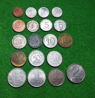 Germany 19 different coins Empire, Weimar, Third Reich, Federal & Democratic Rep