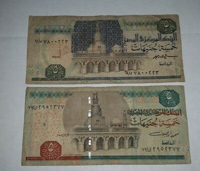 Egypt pair of old 5 Pounds paper banknotes from different series