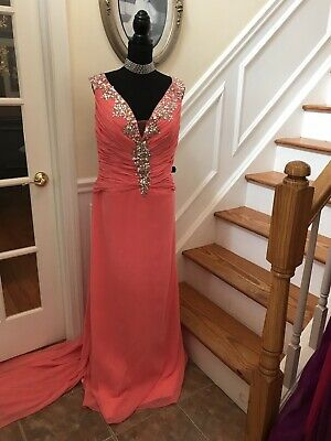 9d090e00391 Beautiful Peachy Coral Silver Jeweled floor length gown Prom Dress Plus  Size 22