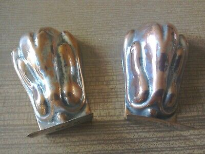 Pair of Antique Copper on Tin Garnishing Moulds of Chicken Shape.