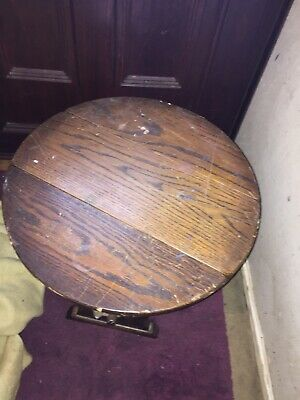Antique Rustic Wooden Stool or Small Table Side