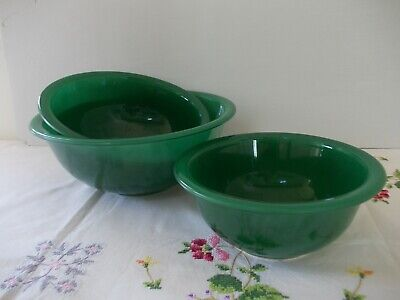 Pyrex Corning Green Mixing Bowls Clear Glass Bottom