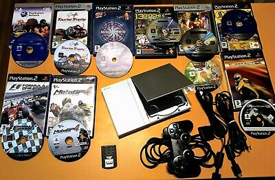 Ps2 Playstation slim argento con 2 cavi tv 1 joypad Sony e memory 32 mb e giochi