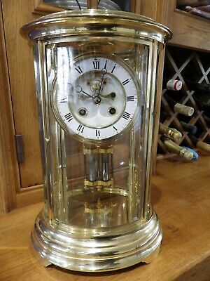 French Crystal Regulator Clock In The Rare Oval Case With Brocot Front Escape