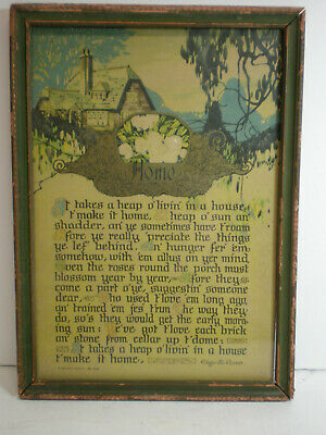 1925 A Buzza Motto  - Home - Edgar A. Guest - Framed 8X11