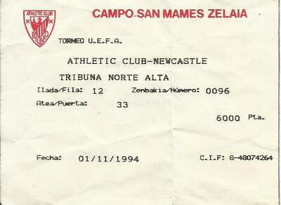Ticket Athletic Bilbao-Newcastle 94-95 Uefa Cup