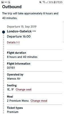 Premium flight tickets X2 from London- Gatwick to Chicago 15th September 2019