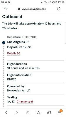 Premium flights X2 from Los Angeles to London Gatwick 5th October 2019