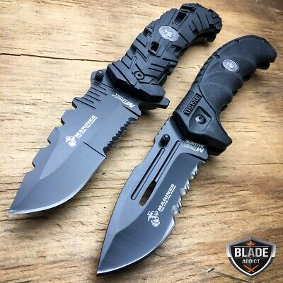 2PC MTECH USMC MARINES Spring Open Assisted Tactical Rescue Folding POCKET KNIFE