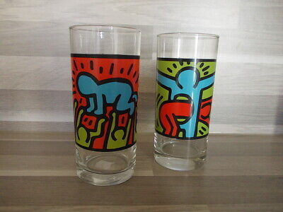 2 Vintage highball glasses K. Haring by Quick fast food Belgium