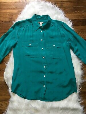 b47c2a08d67 J Crew Blythe Silk 100% Silk Blouse Button Down Front Pockets Safari Shirt  Teal