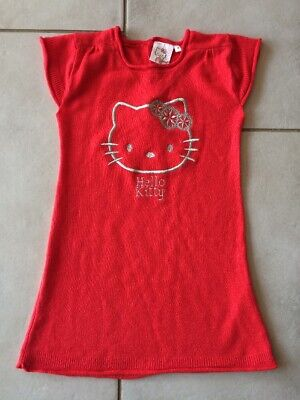 3be3b23fbd9 HELLO KITTY - Robe pull fille 4 ans rouge et argent - TBE - 8 photos