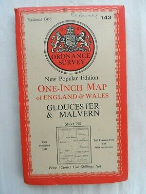 Antique Popular One Inch OS Ordnance Survey Map Cloth #143 Gloucester Malvern