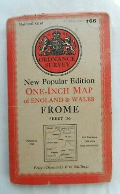 Antique Popular One Inch OS Ordnance Survey Map Cloth #166 Frome 1946