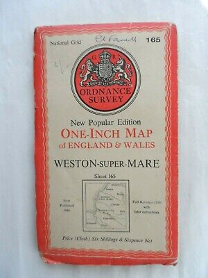 Antique Popular One Inch OS Ordnance Survey Map Cloth #165 Weston super Mare